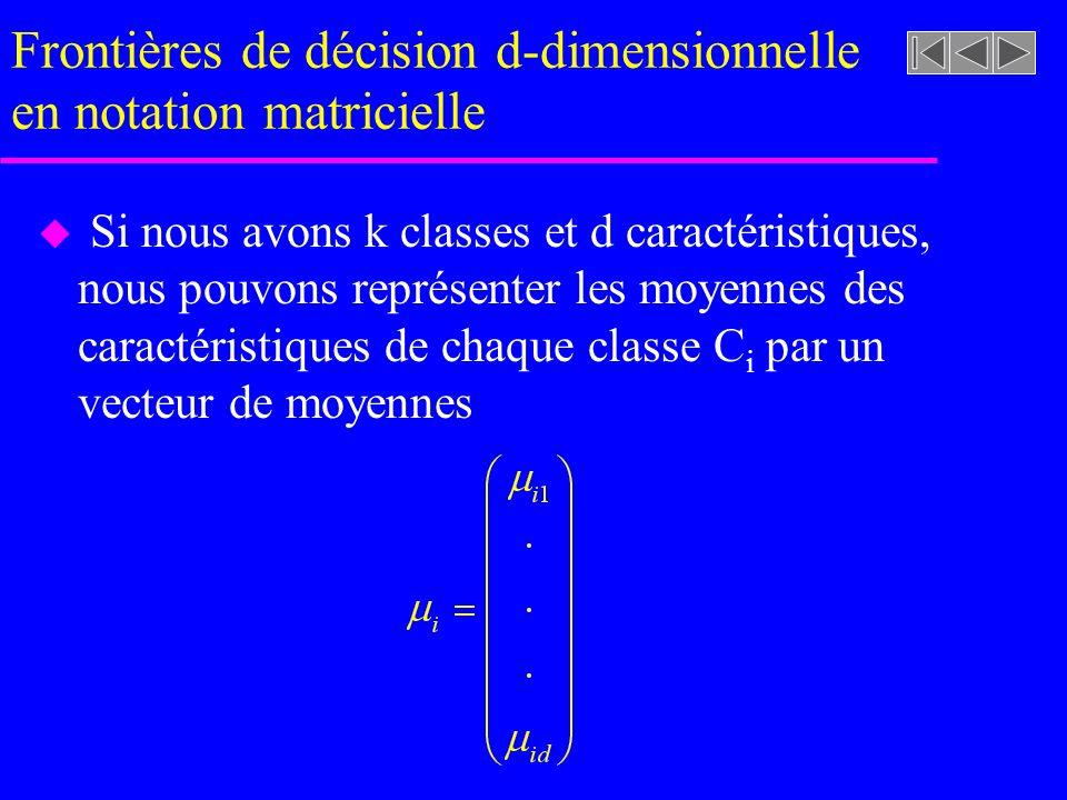 Frontières de décision d-dimensionnelle en notation matricielle