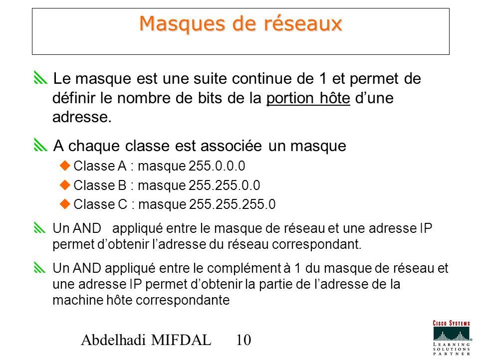 Masques de réseaux Le masque est une suite continue de 1 et permet de définir le nombre de bits de la portion hôte d'une adresse.