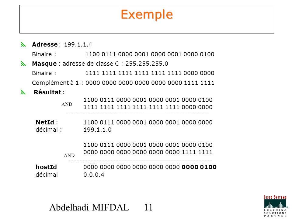 Exemple Adresse: 199.1.1.4. Binaire : 1100 0111 0000 0001 0000 0001 0000 0100. Masque : adresse de classe C : 255.255.255.0.