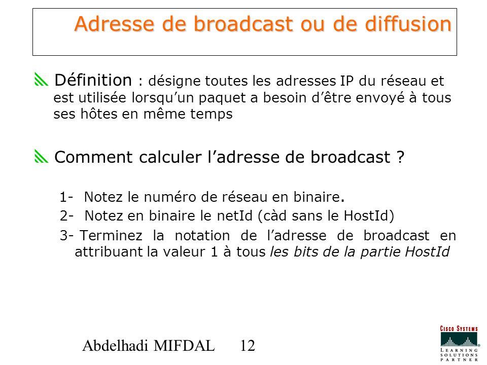Adresse de broadcast ou de diffusion