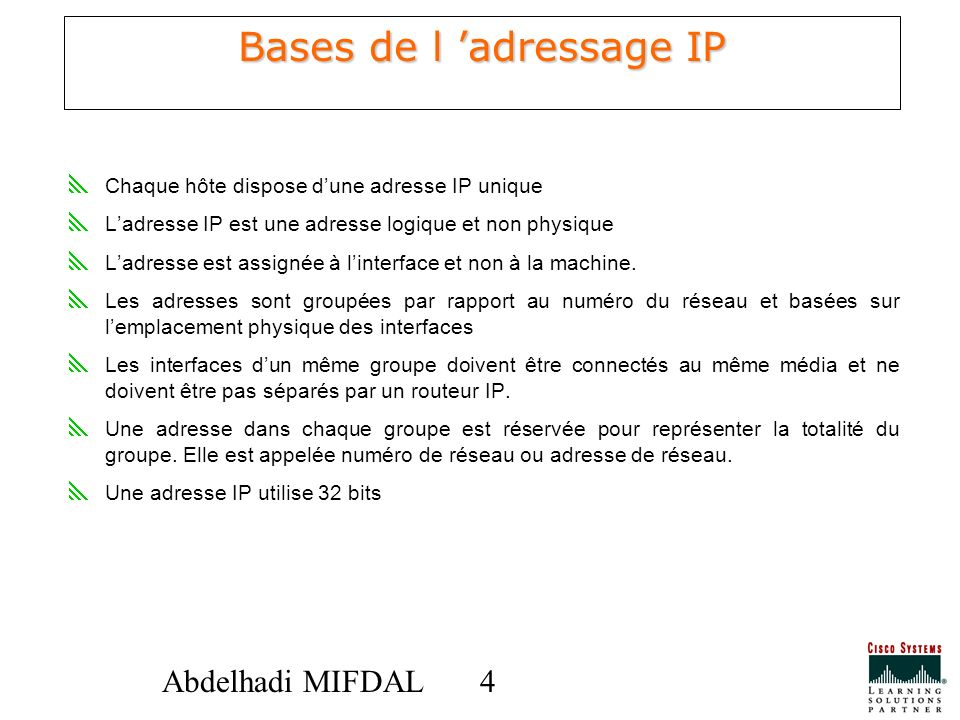 Bases de l 'adressage IP