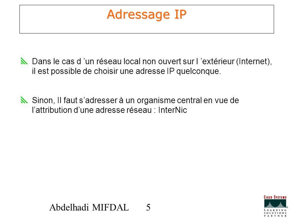 Adressage IP Dans le cas d 'un réseau local non ouvert sur l 'extérieur (Internet), il est possible de choisir une adresse IP quelconque.