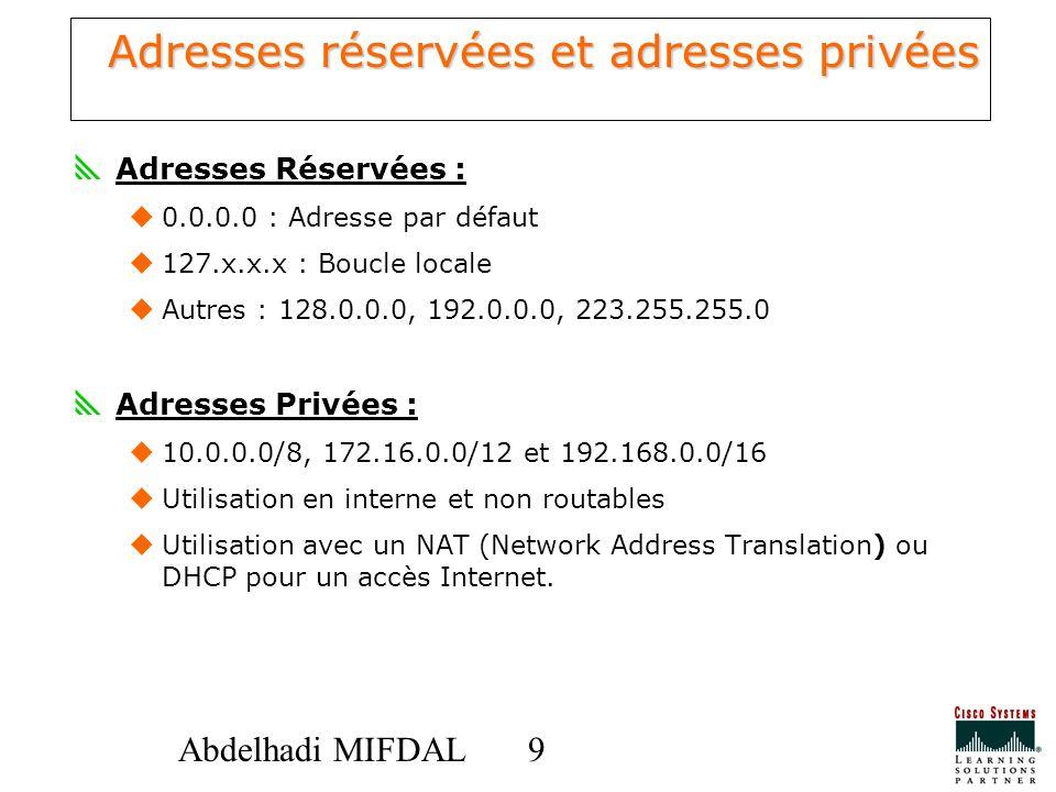 Adresses réservées et adresses privées