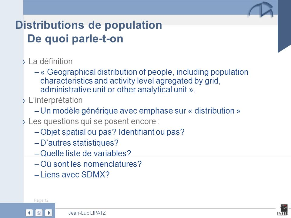 Distributions de population De quoi parle-t-on