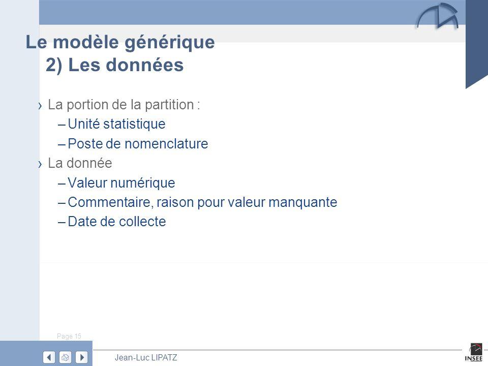 Le modèle générique 2) Les données