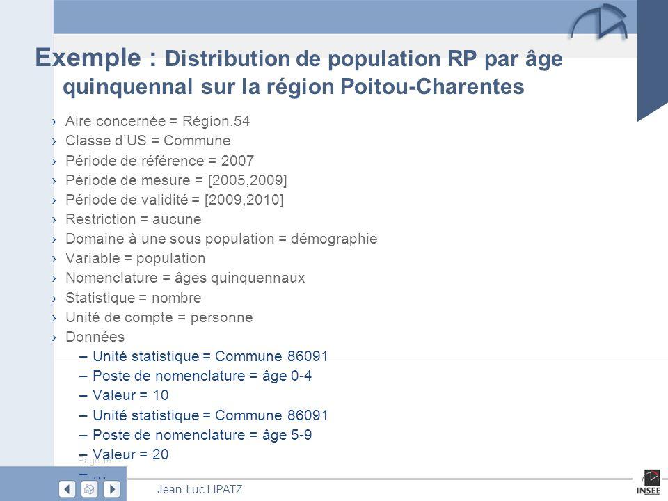 Exemple : Distribution de population RP par âge quinquennal sur la région Poitou-Charentes