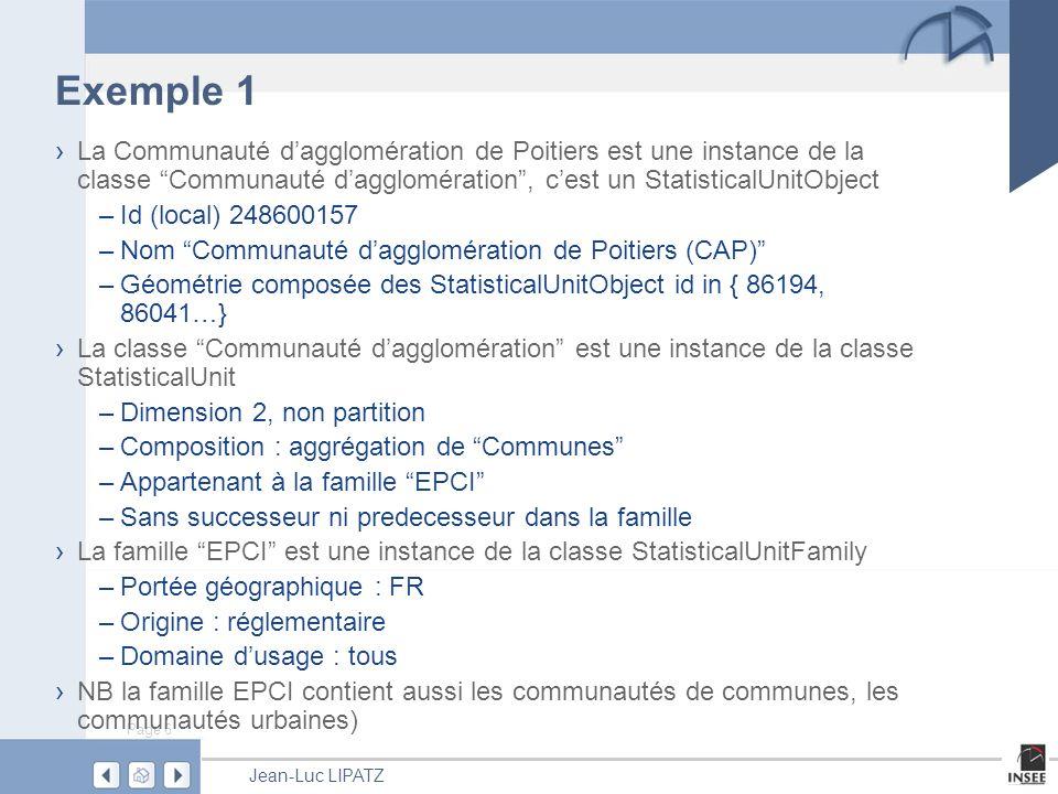 Exemple 1 La Communauté d'agglomération de Poitiers est une instance de la classe Communauté d'agglomération , c'est un StatisticalUnitObject.