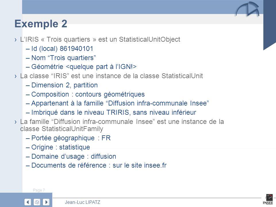 Exemple 2 L'IRIS « Trois quartiers » est un StatisticalUnitObject