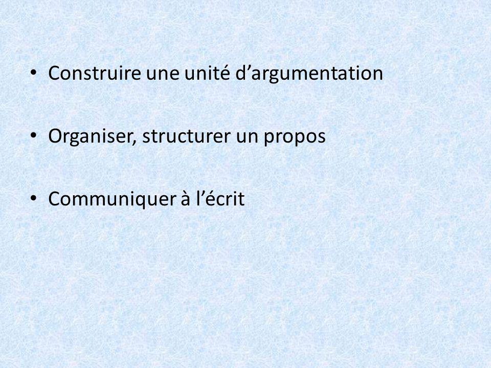 Construire une unité d'argumentation