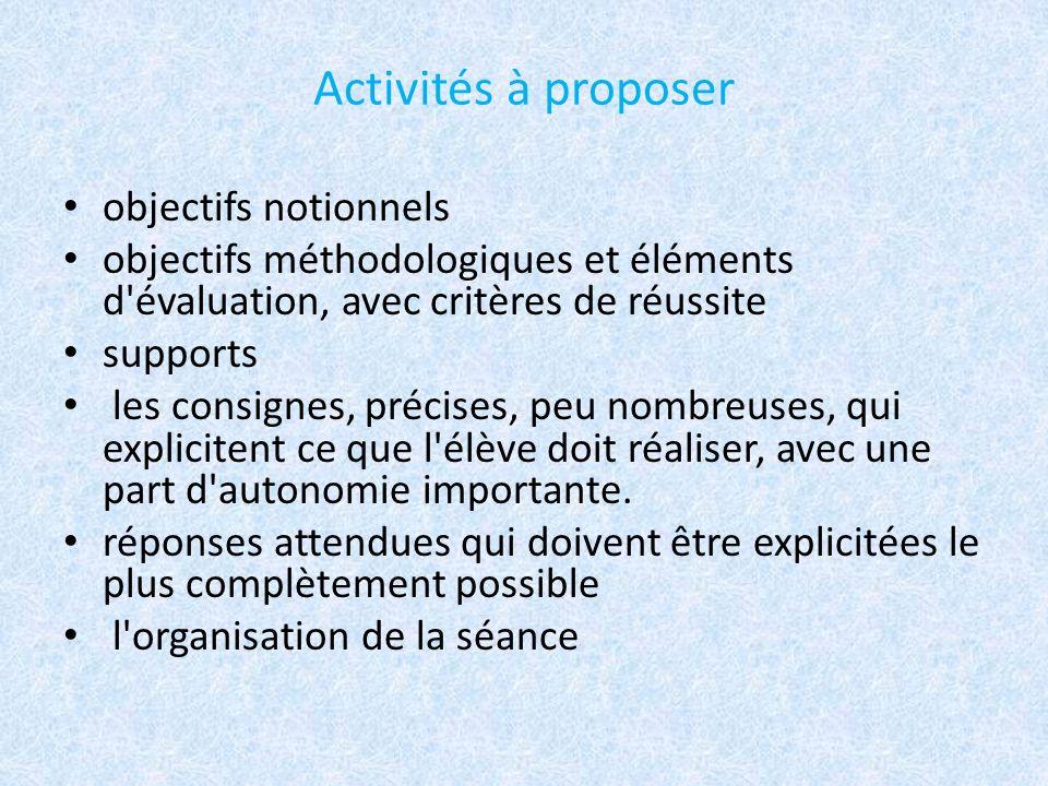 Activités à proposer objectifs notionnels