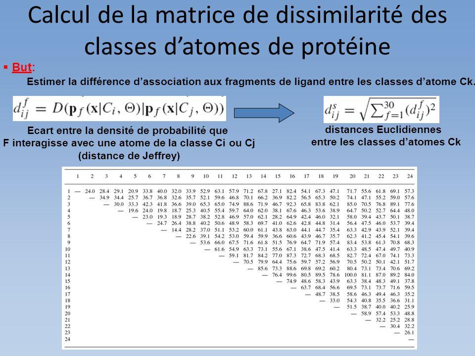 Calcul de la matrice de dissimilarité des classes d'atomes de protéine