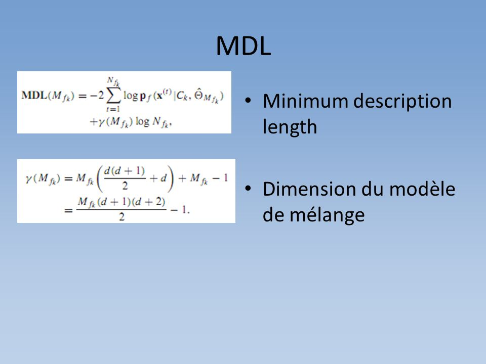 MDL Minimum description length Dimension du modèle de mélange