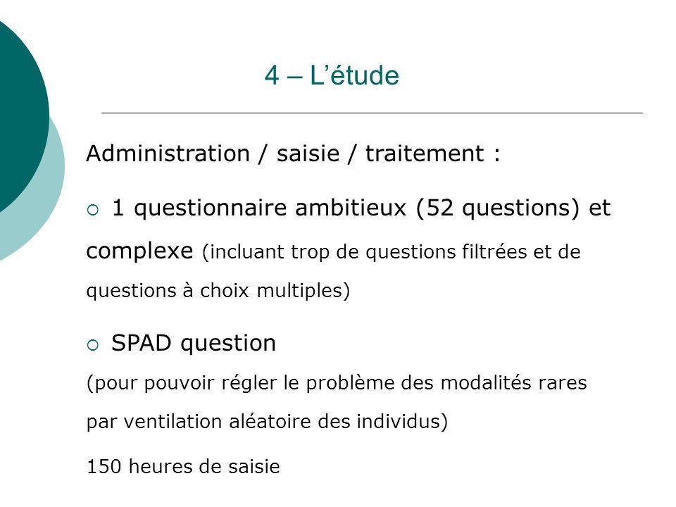 4 – L'étude Administration / saisie / traitement :