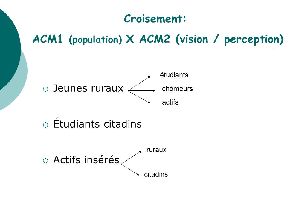 ACM1 (population) X ACM2 (vision / perception)