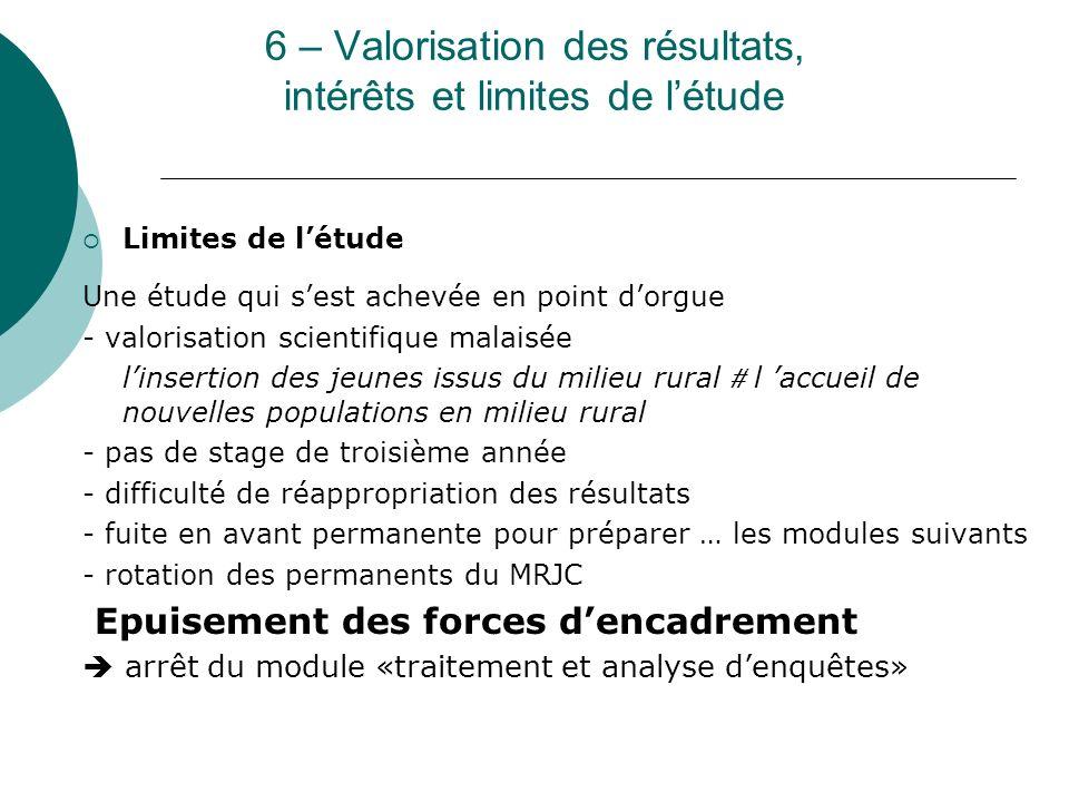 6 – Valorisation des résultats, intérêts et limites de l'étude