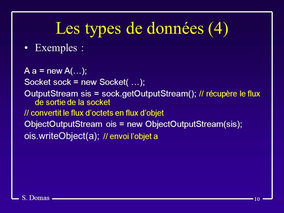 Les types de données (4) Exemples :