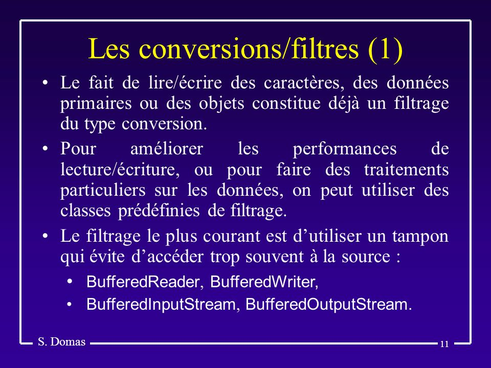 Les conversions/filtres (1)