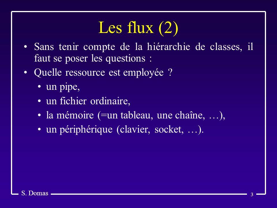 Les flux (2) S. Domas. Sans tenir compte de la hiérarchie de classes, il faut se poser les questions :