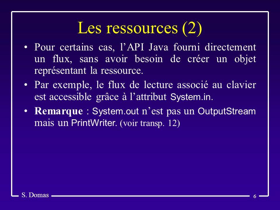 Les ressources (2) S. Domas.