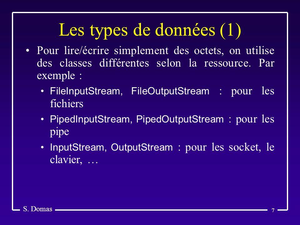 Les types de données (1) S. Domas. Pour lire/écrire simplement des octets, on utilise des classes différentes selon la ressource. Par exemple :