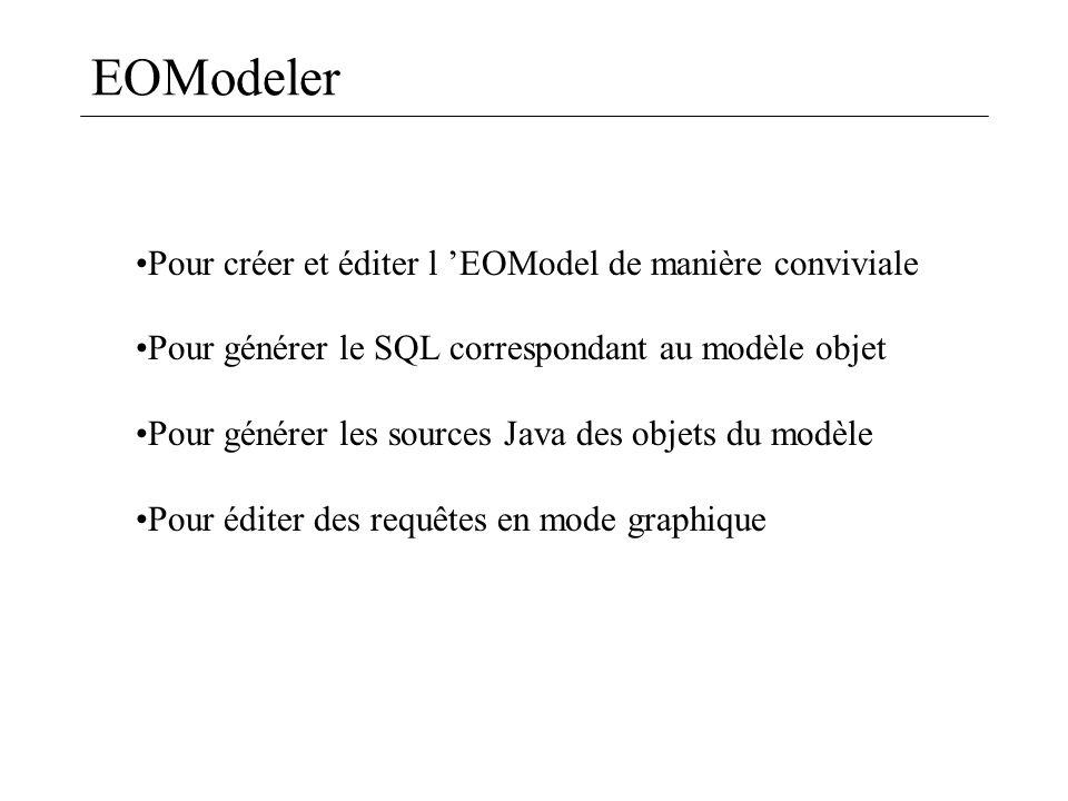EOModeler Pour créer et éditer l 'EOModel de manière conviviale