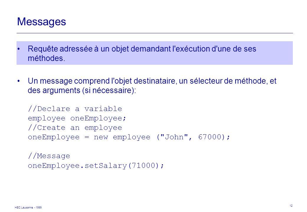 Messages Requête adressée à un objet demandant l exécution d une de ses méthodes.