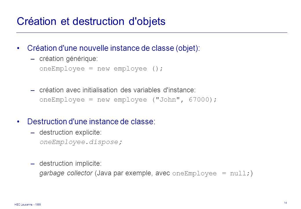 Création et destruction d objets