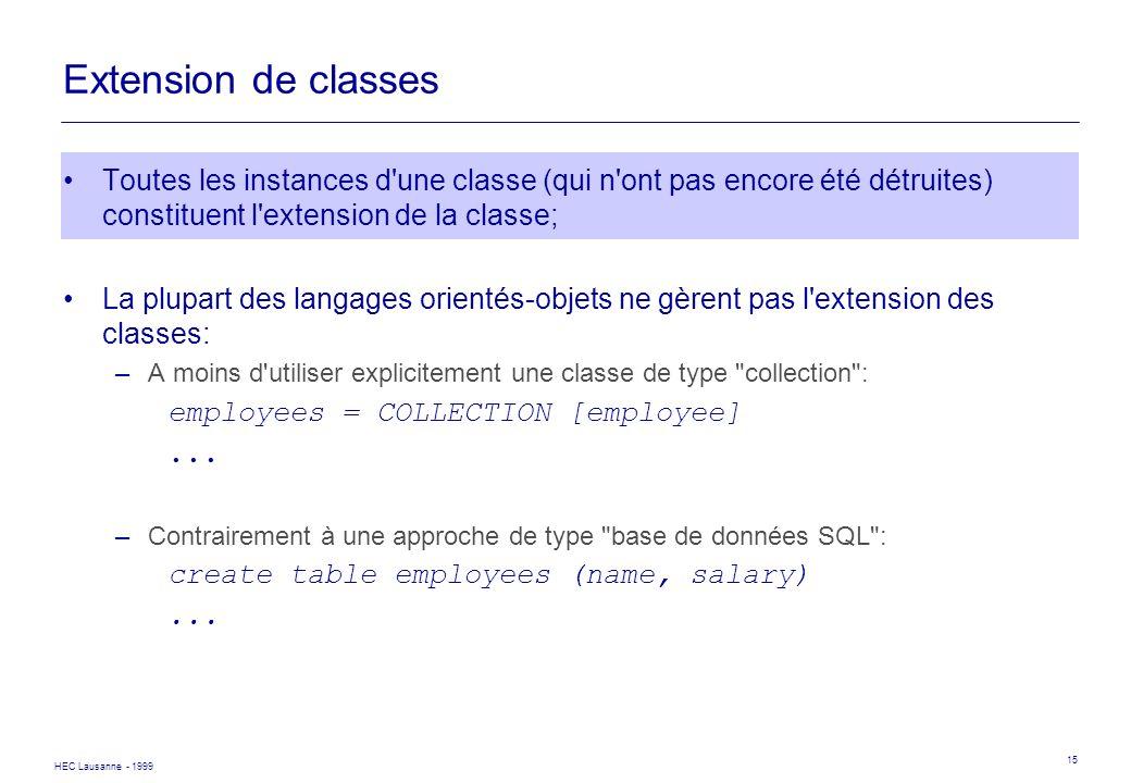 Extension de classes Toutes les instances d une classe (qui n ont pas encore été détruites) constituent l extension de la classe;
