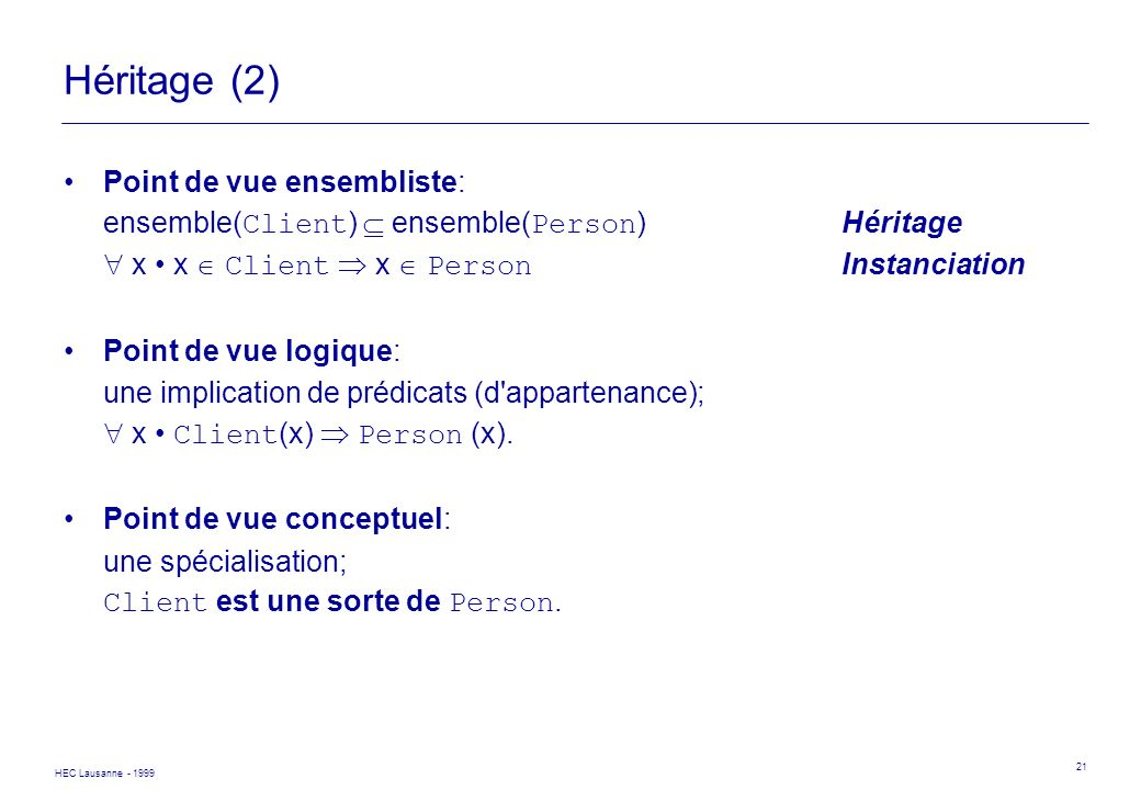 Héritage (2) Point de vue ensembliste: