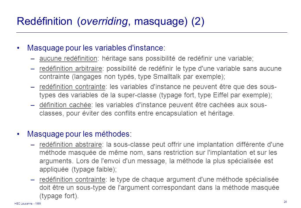 Redéfinition (overriding, masquage) (2)
