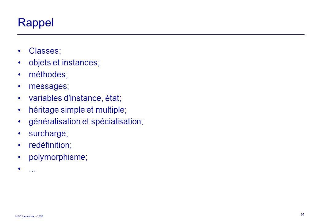 Rappel Classes; objets et instances; méthodes; messages;