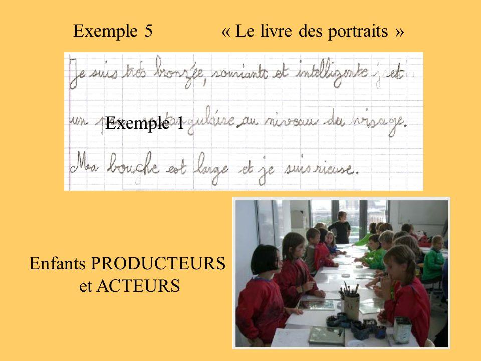 Exemple 5 « Le livre des portraits » Exemple 1 Enfants PRODUCTEURS et ACTEURS