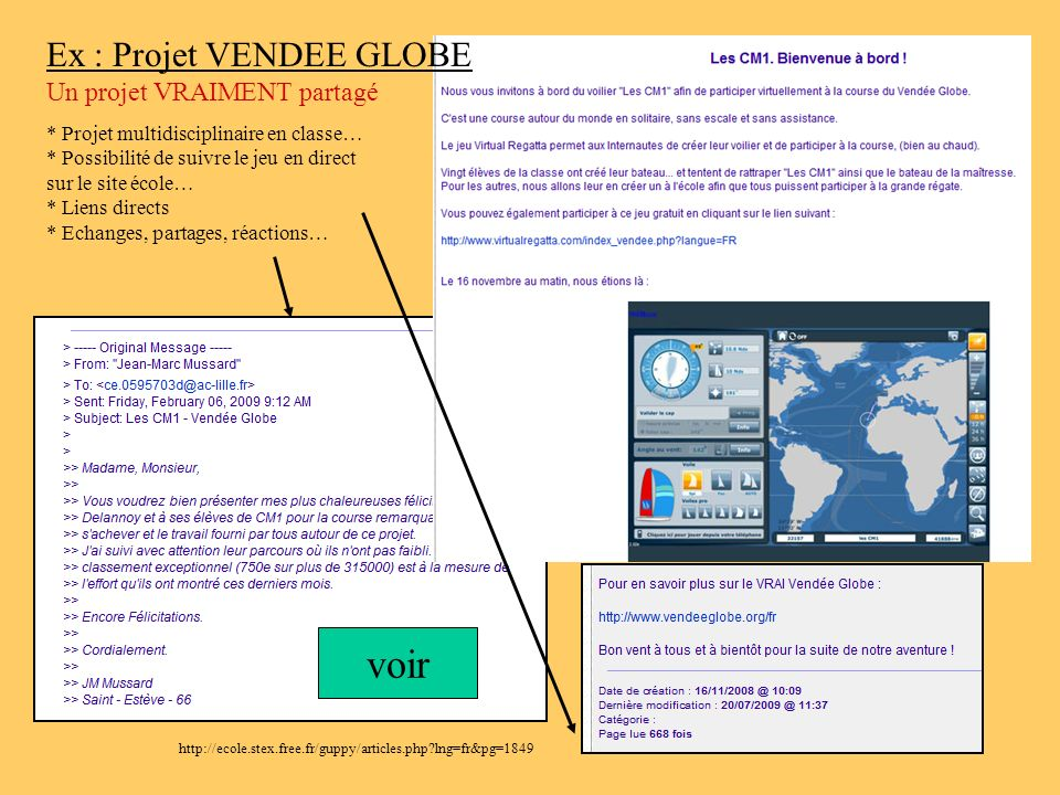 voir Ex : Projet VENDEE GLOBE Un projet VRAIMENT partagé