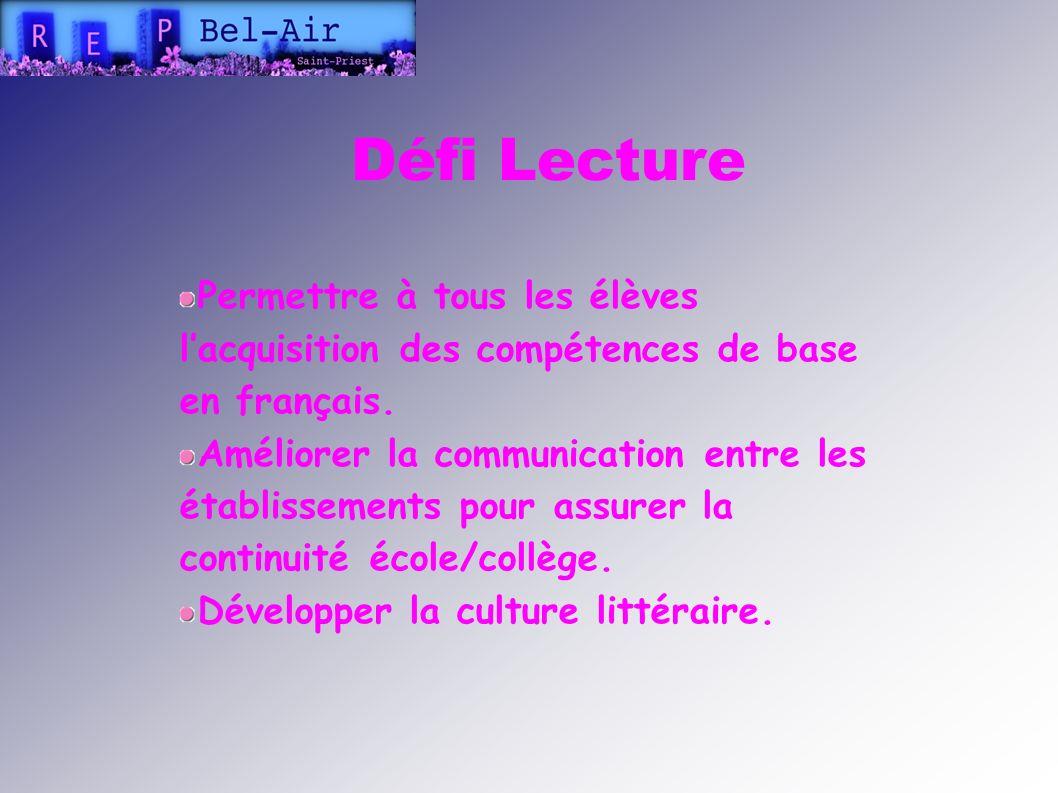 Défi Lecture Permettre à tous les élèves l'acquisition des compétences de base en français.