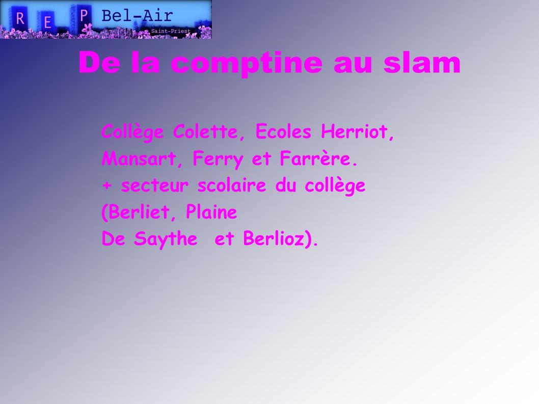 De la comptine au slam Collège Colette, Ecoles Herriot, Mansart, Ferry et Farrère. + secteur scolaire du collège (Berliet, Plaine.