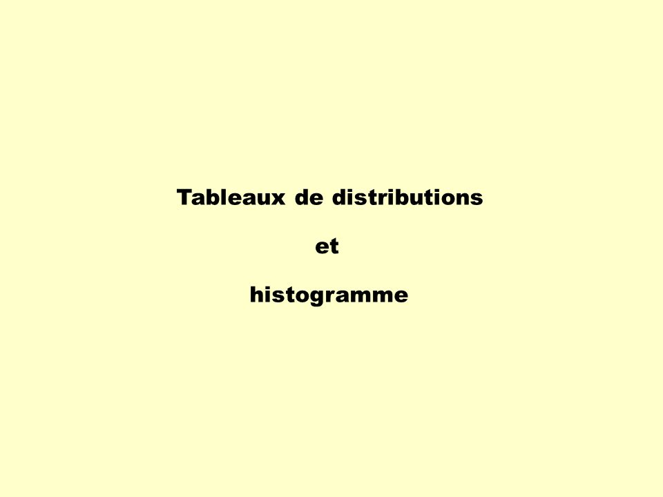 Tableaux de distributions