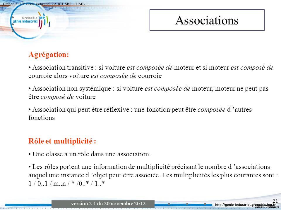 Associations Agrégation: Rôle et multiplicité :