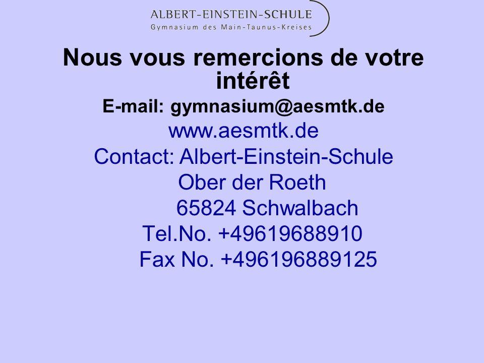 Nous vous remercions de votre intérêt E-mail: gymnasium@aesmtk.de