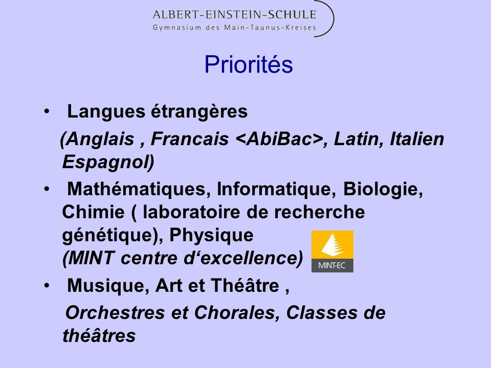 Priorités Langues étrangères