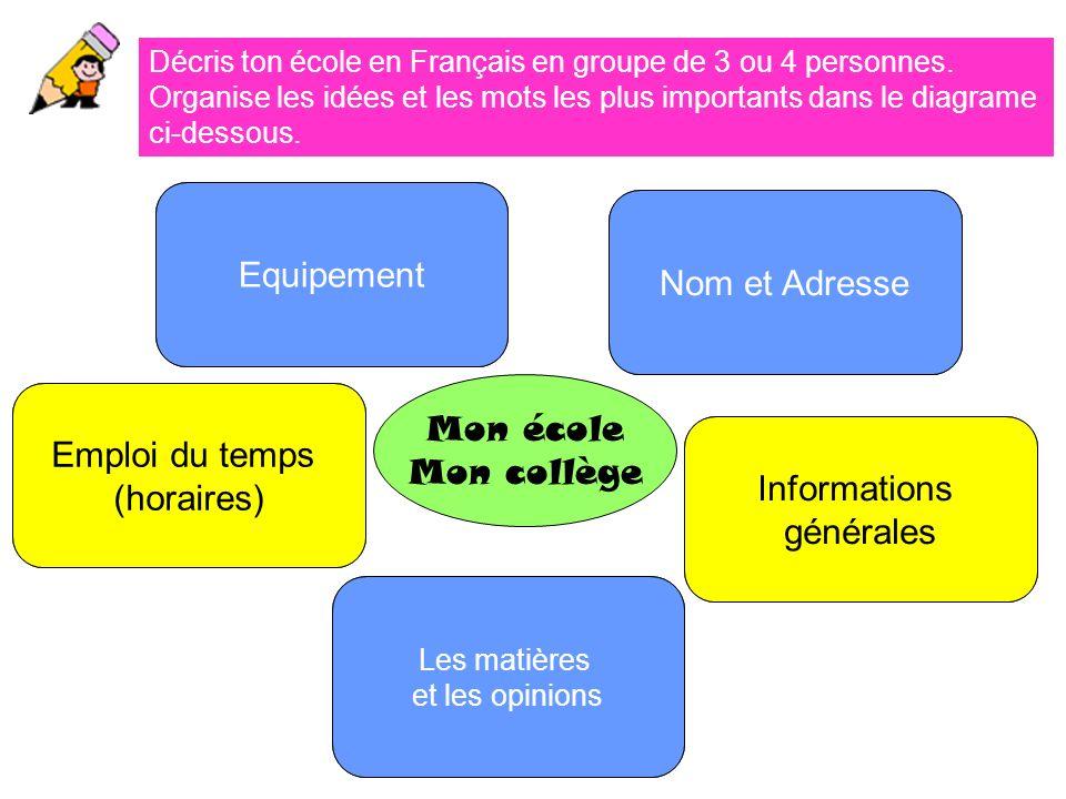 Equipement Nom et Adresse Mon école Emploi du temps Mon collège