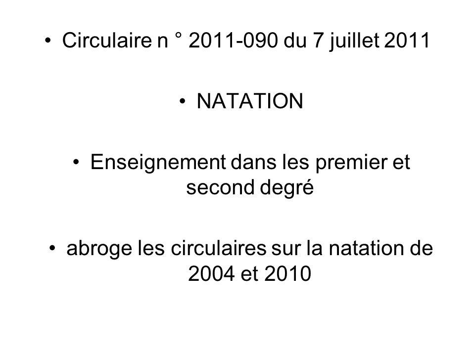 Circulaire n ° 2011-090 du 7 juillet 2011 NATATION