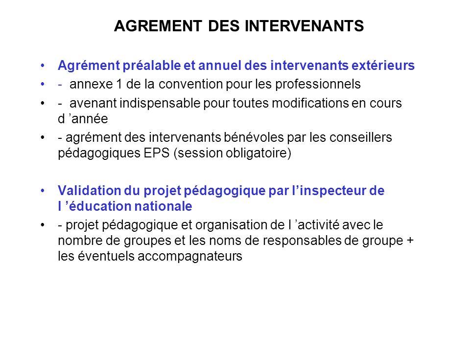 AGREMENT DES INTERVENANTS