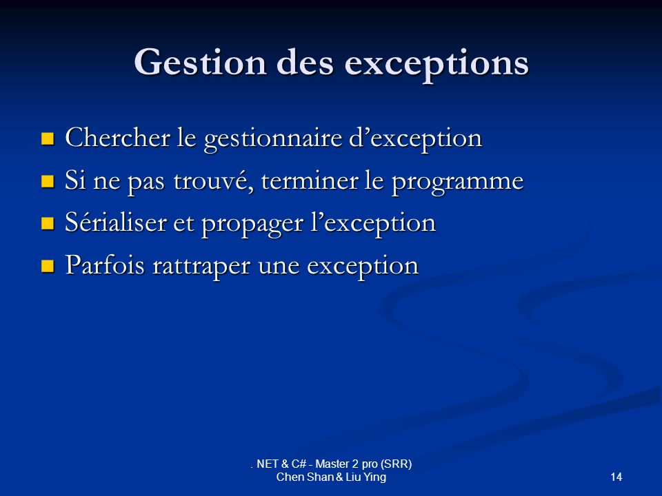 Gestion des exceptions