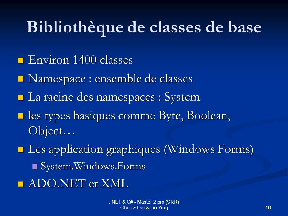 Bibliothèque de classes de base
