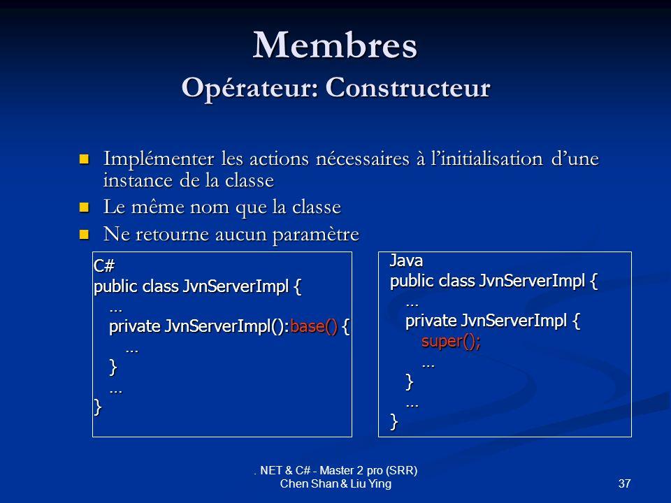 Membres Opérateur: Constructeur