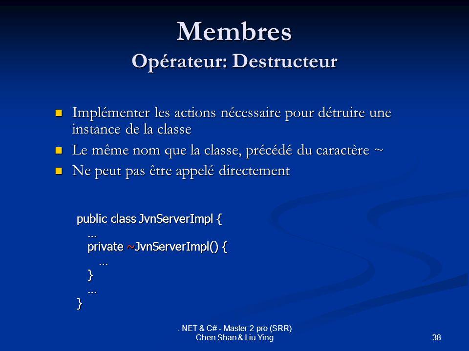 Membres Opérateur: Destructeur