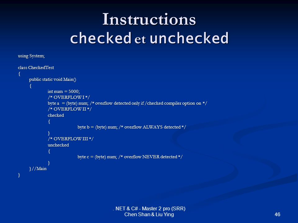 Instructions checked et unchecked