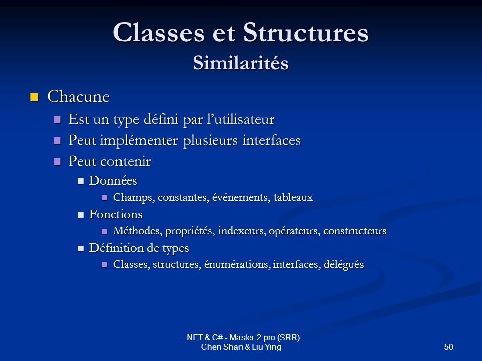 Classes et Structures Similarités