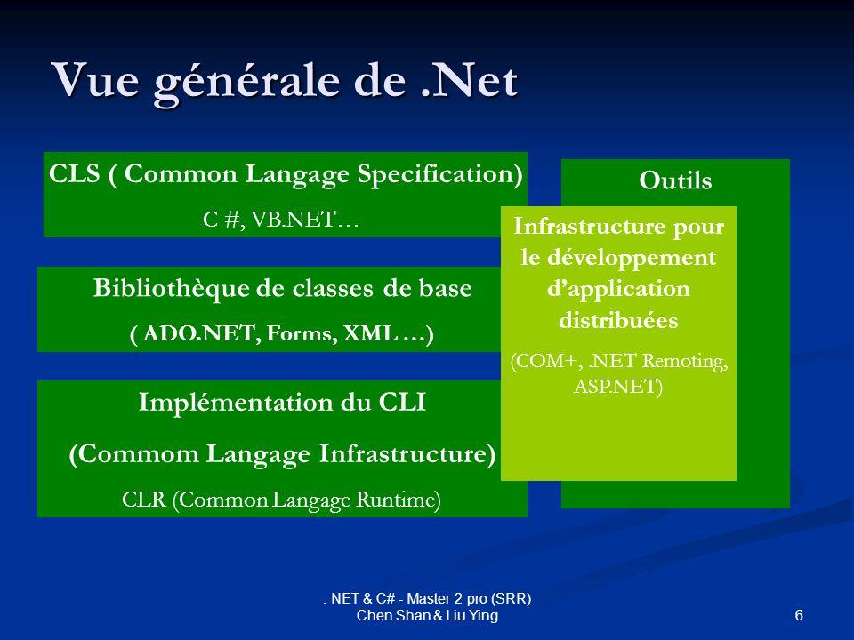 Vue générale de .Net CLS ( Common Langage Specification) Outils
