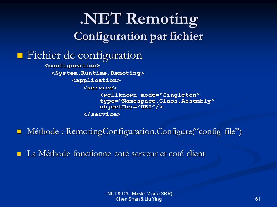 .NET Remoting Configuration par fichier